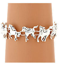 Silvertone Horse Magnetic Bracelet #AB7279-AS