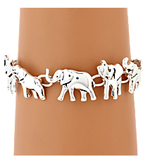 Silvertone Elephant Magnetic Bracelet #AB7281-AS