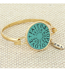 Goldtone and Mint Faith, Hope, and Love Hook Bracelet #AB7322-GE