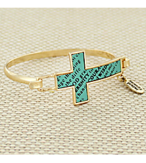 Goldtone and Mint Serenity Prayer Cross Hook Bracelet #AB7323-GE