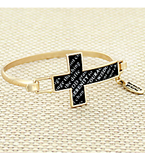 Goldtone and Black Serenity Prayer Cross Hook Bracelet #AB7323-GJ