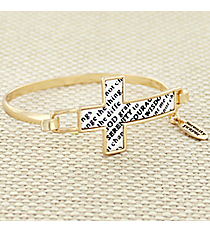 Goldtone and White Serenity Prayer Cross Hook Bracelet #AB7323-GW
