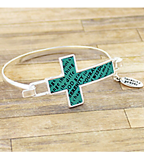 Silvertone and Turquoise Serenity Prayer Cross Hook Bracelet #AB7323-STQ