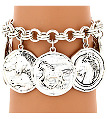 Hammered Matte Silvertone Horse Themed Toggle Bracelet #AB7343-WS