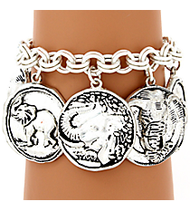 Hammered Matte Silvertone Elephant Themed Toggle Bracelet #AB7344-WS