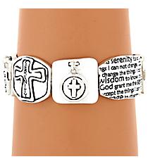 Hammered Silvertone Serenity Prayer Stretch Bracelet #AB7358-STT