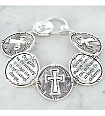 Silvertone Serenity Prayer Magnetic Bracelet #AB7447-AS