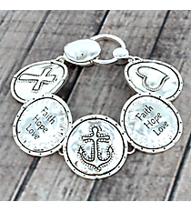 Silvertone Faith, Hope, and Love Magnetic Bracelet #AB7448-AS