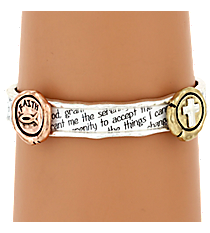 Tri-Tone Serenity Prayer Stretch Bracelet #AB7458-W3T