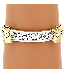 Two-Tone Angel Blessing Stretch Bracelet #AB7459-WTT