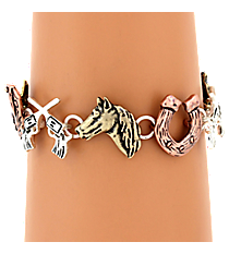 Burnished Tri-Tone Western Themed Magnetic Bracelet #AB7470-B3T