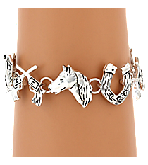 Burnished Silvertone Western Themed Magnetic Bracelet #AB7470-WS