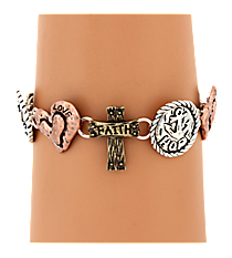Burnished Tri-Tone Faith Hope Love Themed Magnetic Bracelet #AB7471-B3T