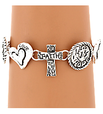 Burnished Silvertone Faith Hope Love Themed Magnetic Bracelet #AB7471-WS