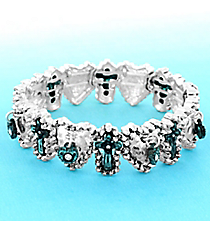 Matte Silvertone and Patina Cross and Heart Stretch Bracelet #AB7810-TT