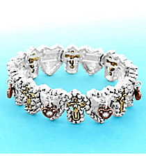 Matte Tri-Tone Cross and Heart Stretch Bracelet #AB7810-W3T