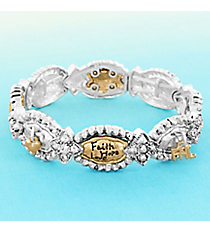 "Matte Two-Tone and Crystal ""Faith Hope Love"" Oval Stretch Bracelet #AB7812-WTT"