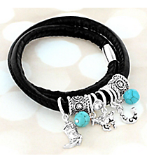 Silvertone Western Charm and Turquoise Bead Black Wrap-Around Bracelet #AB7905-ASJ