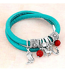 Silvertone Western Charm and Coral Bead Turquoise Wrap-Around Bracelet #AB7905-ASTQC