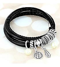 Textured Silvertone Charm and Pearl Wrap-Around Bracelet #AB7909-ASJ