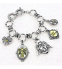 Two-Tone Angel Blessing Charm Toggle Bracelet #AB7927-TTross Charm Toggle Bracelet #AB7931-TT