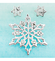 Square Crystal and Silvertone Snowflake Pendant/Brooch and Earrings Set #AC0621-SC