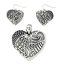 Silvertone Dot & Swirl Textured Heart Pendant and Earring Set #AC1007-AS