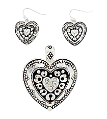 Silvertone and Black Heart Pendant and Earring Set #AC1061-ASJ
