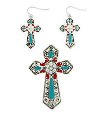 Silvertone, Turquoise, and Red Cross Pendant and Earring Set #AC1062-ASTQ