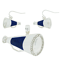 Navy and White Megaphone Pendant and Earrings Set #AC1086-SAW