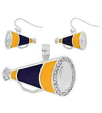Purple and Yellow Megaphone Pendant and Earrings Set #AC1086-SAY