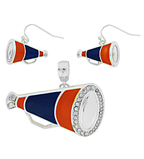 Navy and Orange Megaphone Pendant and Earrings Set #AC1086-SMO