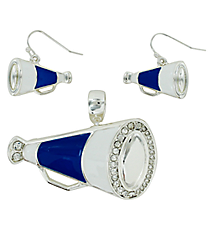 Royal Blue and White Megaphone Pendant and Earrings Set #AC1086-SMW