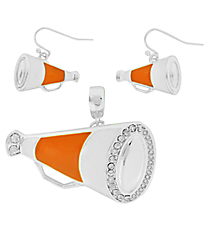 Orange and White Megaphone Pendant and Earrings Set #AC1086-SOW