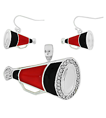 Red and Black Megaphone Pendant and Earrings Set #AC1086-SRJ