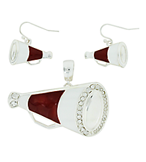 Maroon and White Megaphone Pendant and Earrings Set #AC1086-SRW2