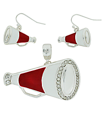 Crimson and White Megaphone Pendant and Earrings Set #AC1086-SRW3