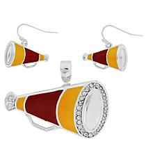 Burgundy and Gold Megaphone Pendant and Earrings Set #AC1086-SRY
