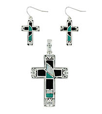 Silvertone, Turquoise, & Black Cross Pendant and Earring Set #AC1097-ASJTQ