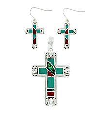 Silvertone, Turquoise, & Coral Cross Pendant and Earring Set #AC1097-ASTQC