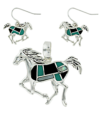 Silvertone, Turquoise and Black Horse Pendant and Earrings Set #AC1101-ASJTQ