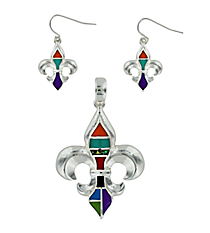 Silvertone and Multi-Color Fleur De Lis Pendant and Earrings Set #AC1102-SMX