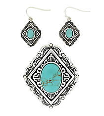 Turquoise and Silvertone Diamond Pendant and Earrings Set #AC1207-ASTQ