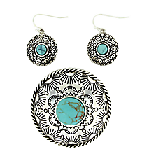 Silvertone Turquoise Western Pendant and Earring Set #AC1208-ASTQ