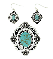 Turquoise and Silvertone Floral Pendant and Earrings Set #AC1209-ASTQ