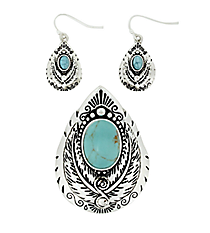 Silvertone Turquoise Feather Teardrop Pendant and Earring Set #AC1211-ASTQ