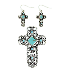 Silvertone Turquoise Cross Pendant and Earring Set #AC1212-ASTQ