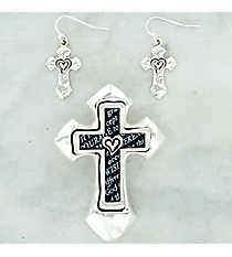 Silvertone Serenity Prayer Cross Pendant and Earring Set #AC1242-STT
