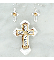 Two-Tone Serenity Prayer Cross Pendant and Earring Set #AC1242-TT