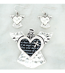 Silvertone Angel Blessing Pendant and Earring Set #AC1244-STT